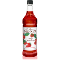 MONIN WILD STRAWBERRY FLAVORED SYRUP, PLASTIC LITER BOTTLE - 4 PER CASE