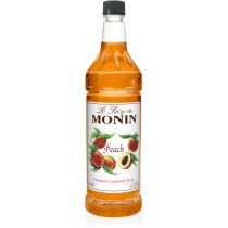 MONIN PEACH FLAVORED SYRUP, PLASTIC LITER BOTTLE - 4 PER CASE