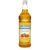 MONIN SUGAR-FREE HAZELNUT FLAVORED SYRUP, PLASTIC LITER BOTTLE - 4 PER CASE