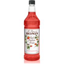 MONIN RED PASSION FRUIT FLAVORED SYRUP, PLASTIC LITER BOTTLE - 4 PER CASE