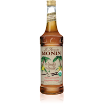 MONIN ORGANIC VANILLA FLAVORED SYRUP, GLASS 750ML BOTTLE - 6 PER CASE