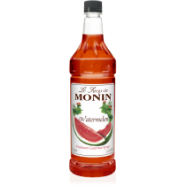MONIN WATERMELON FLAVORED SYRUP, PLASTIC LITER BOTTLE - 4 PER CASE