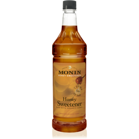 MONIN HONEY SWEETENER SYRUP, PLASTIC LITER BOTTLE - 4 PER CASE