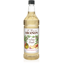 MONIN WHITE PEACH FLAVORED SYRUP, PLASTIC LITER BOTTLE - 4 PER CASE