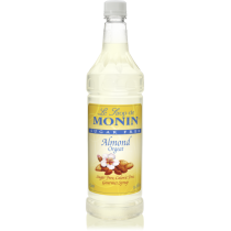 MONIN SUGAR-FREE ALMOND FLAVORED SYRUP, PLASTIC LITER BOTTLE - 4 PER CASE