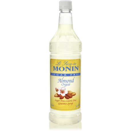 MONIN SUGAR-FREE ALMOND FLAVORED SYRUP, PLASTIC LITER BOTTLE - 4 PER CASE