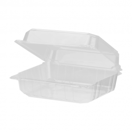 "KARAT EARTH CLEAR ECO-FRIENDLY PLA, 8"" SQUARE HINGED LID CONTAINER , KE-HC88PLA-1C (250)"