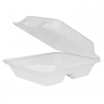 """KARAT BAGASSE HINGED LID TO GO BOX 3-COMP. 8"""" X 8"""" X 3"""" KE-BHC88-3C (200/CS)"""