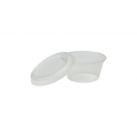 CLEAR PLA PORTION CUP LID, COMPOSTABLE, FOR 2 OZ CUP (2,500)