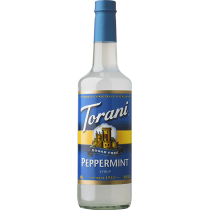 TORANI PEPPERMINT *SUGAR FREE* FLAVOR SYRUP, 750 ML BOTTLE - 4 PER CASE