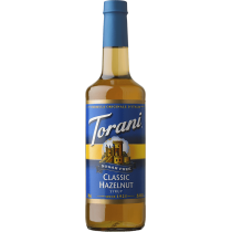 TORANI HAZELNUT CLASSIC *SUGAR FREE* FLAVOR SYRUP, 750 ML BOTTLE  - 4 PER CASE