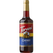 TORANI CHERRY FLAVORED SYRUP,   750ML BOTLE - 4 PER CASE