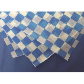 DPI DRY WAX, BLUE/WHITE CHECKERED DELI PAPER, FLAT PACK, FP1212-BLUE (5000)