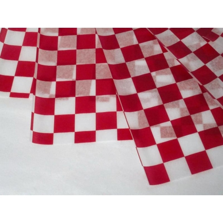 """DPI DRY WAX, RED/WHITE CHECKERED DELI PAPER, 12"""" X 12"""" FLAT PACK (5/1000)"""