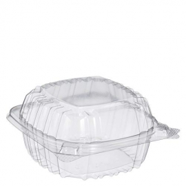 """DART 5"""" CLEARSEAL CLEAR PLASTIC HINGED LID CONTAINER, C53PST1, (500)"""