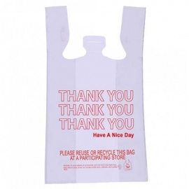 "PLASTIC TO GO BAG -  ""THANK YOU"" RED PRINT ON WHITE BAG - 975 PER CASE"