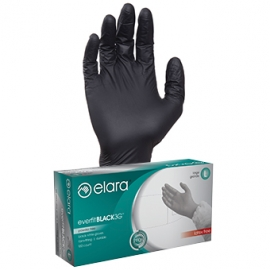 ELARA  MEDIUM *POWDER-FREE* BLACK NITRILE GLOVES, EVERFITBLACK3G, FNE302BK (1000/CS)