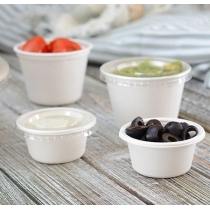CLEAR PORTION CUP LID FOR 5 OZ BAGASSE PORTION CUP (2,500) FINELINE SETTINGS