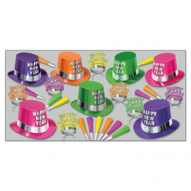 BEISTLE FLUORESCENT NEW YEAR'S PARTY FAVOR KIT FOR 50 PEOPLE
