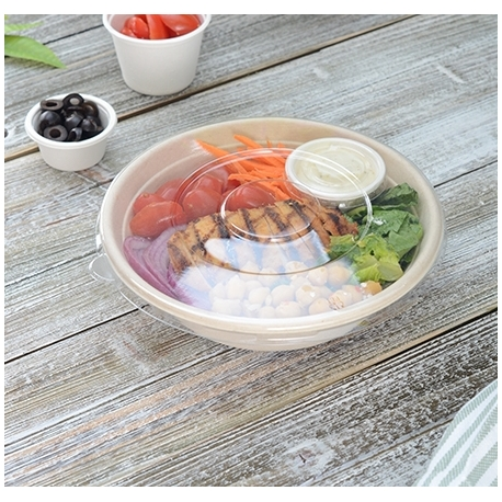 """FINELINE SETTINGS FLAT CLEAR PETE LID FOR 24-40 OZ, 8"""" ROUND BAGASSE BOWLS 42RBFL (300)"""