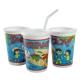 ROYAL PAPER 12OZ PLASTIC KIDS CUP W/LIDS & STRAWS, STOCK PRINT KCT250IT (250)