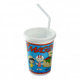 ROYAL PAPER 12OZ PLASTIC KIDS CUP W/LIDS & STRAWS, STOCK PRINT KCT250IT (250)