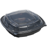 "MULLINIX PLASTIC, 9"" BLACK BOTTOM HINGED LID TO GO BOX  W/VENTED LID, (112)"