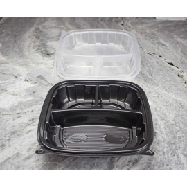 "PURE PACKAGING 9"" 3-COMPARTMENT TO GO CONTAINER, PLASTIC, VENTED/HINGED LID (180)"