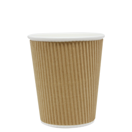 KARAT 8 OZ KRAFT PAPER HOT CUP WITH INTEGRATED RIPPLE SLEEVE (500)