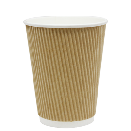 KARAT 12 OZ, KRAFT PAPER HOT CUP W/INTEGRATED RIPPLE SLEEVE (500/CS)