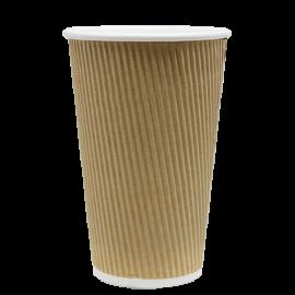 KARAT 16 OZ, KRAFT PAPER HOT CUP W/INTEGRATED RIPPLE SLEEVE (500/CS)