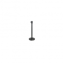 STANCHION FOR CROWD CONTROL, BLACK POST, 6.5' RETRACTABLE BLACK BELT (EACH)