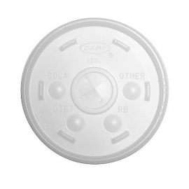 DART 12SL TRANSLUCENT PLASTIC LID, W/STRAW SLOT, FOR FOAM CUPS (1000)