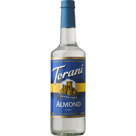 TORANI ALMOND (ORGEAT) *SUGAR FREE* FLAVOR SYRUP, 750 ML BOTTLE