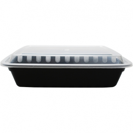 PLATINUM CROWN 38 OZ BLACK RECTANGLE TO GO CONTAINER, COMBO PACK WITH LIDS (150)