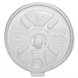 DART 16FTLS WHITE PLASTIC LID, W/TEARBACK, FOR FOAM CUPS (1000)