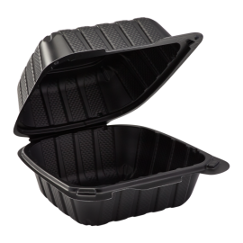 """VINTAGE BLACK SINGLE COMPARTMENT, 6"""" TO GO CONTAINER, MINERAL-FILLED POLYPROPYLENE PLASTIC, HINGED LID (300)"""