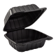 """VINTAGE BLACK SINGLE COMPARTMENT, 9"""" TO GO CONTAINER, MINERAL-FILLED POLYPROPYLENE PLASTIC, HINGED LID (150)"""