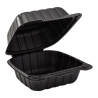 "VINTAGE BLACK SINGLE COMPARTMENT, 6"" TO GO CONTAINER, MINERAL-FILLED POLYPROPYLENE PLASTIC, HINGED LID (300)"