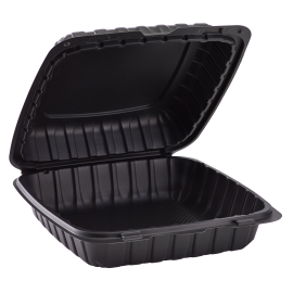 "ECOPAX BLACK ONE COMPARTMENT 9"" TO GO CONTAINER, MINERAL-FILLED POLYPROPYLENE PLASTIC, HINGED LID (150)"