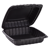 """ECOPAX BLACK ONE COMPARTMENT 9"""" TO GO CONTAINER, MINERAL-FILLED POLYPROPYLENE PLASTIC, HINGED LID (150)"""