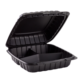 """BLACK THREE COMPARTMENT 9"""" TO GO CONTAINER, MINERAL-FILLED POLYPROPYLENE PLASTIC, HINGED LID (150)"""