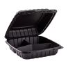 "ECOPAX BLACK THREE COMPARTMENT 9"" TO GO CONTAINER, MINERAL-FILLED POLYPROPYLENE PLASTIC, HINGED LID (150)"