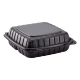 """ECOPAX BLACK THREE COMPARTMENT 9"""" TO GO CONTAINER, MINERAL-FILLED POLYPROPYLENE PLASTIC, HINGED LID (150)"""