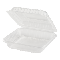 """KARAT 8"""" SINGLE COMPARTMENT TO GO CONTAINER TRANSPARENT, POLYPRO PLASTIC, HINGED LID (250)"""