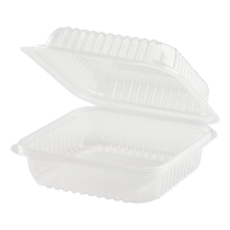 """KARAT 7"""" TO GO CONTAINER TRANSPARENT, POLYPRO PLASTIC, HINGED LID (250)"""