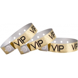 "PLASTIC WRISTBAND, GOLD HOLOGRAPHIC, ""VIP"" PRINT, W/ SNAP CLOSURE - 500 PER BOX"