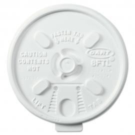 DART 8FTL WHITE PLASTIC LID, W/TEARBACK, FOR FOAM CUPS (1000)