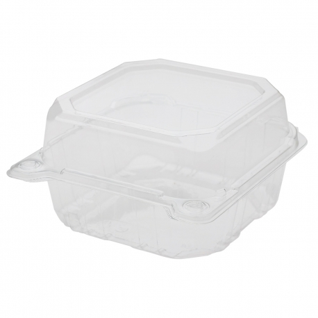 """KARAT 6"""" TO GO CONTAINER CLEAR, PET PLASTIC, HINGED LID (500)"""