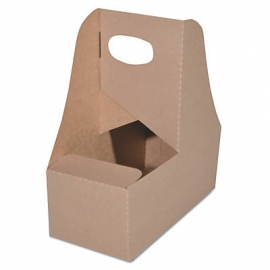 CUP CARRIER 2 COMPARTMENT, WITH HANDLE, CARDBOARD (250)